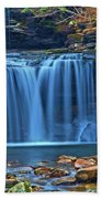 Blue Cascade Falls Beach Towel