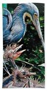 Blue Heron Family Beach Towel