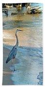 Blue Heron On The Beach Beach Towel