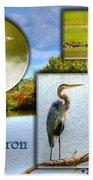 Blue Heron Pose Beach Towel