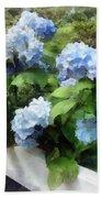 Blue Hydrangea On White Fence Beach Towel