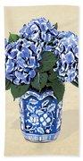 Blue Hydrangeas In A Pot On Parchment Paper Beach Towel