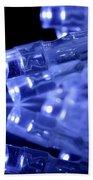 Blue Led Lights Closeup With Reflection Beach Towel