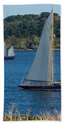 Blue Schooner 03 Beach Towel