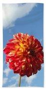 Blue Sky Nature Art Prinst Red Dahlia Flower Beach Towel