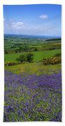 Bluebell Flowers On A Landscape, County Beach Towel