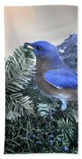 Bluebird Christmas Wreath Beach Towel