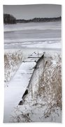 Boat Dock In Winter On A Lake No.0243 Beach Towel
