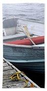 Boat In Fog Beach Towel