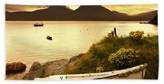 Boat On The Shore At Sunset, Island Of Beach Towel