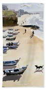 Boats On The Beach Beach Towel by Lucy Willis