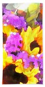 Bouquet Of Sunflowers And Purple Statice Beach Towel