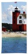 Round Island Light House Michigan Beach Towel