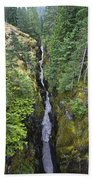 Box Canyon With Flowing Stream, Mount Beach Towel