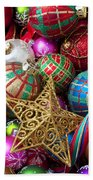 Box Of Christmas Ornaments With Star Beach Towel
