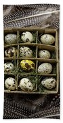 Box Of Quail Eggs Beach Towel