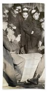 Boys Playing Poker, 1909 Beach Towel
