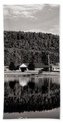 Brant Lake Reflections Black And White Beach Towel