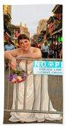 Bride And The Barricade On Bourbon Street Beach Towel