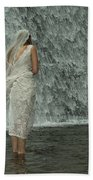 Bride Below Dam Beach Towel