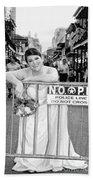 Bride On The Barricade On Bourbon St Nola Beach Towel