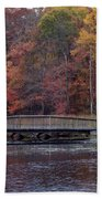 Bridge In Autumn Beach Towel