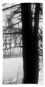 Bridge In The Fog Bw Beach Towel