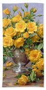 Bright Smile - Roses In A Silver Vase Beach Towel