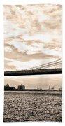 Brooklyn Bridge In Sepia Beach Towel