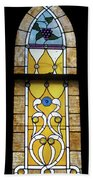 Brown Stained Glass Window Beach Towel