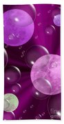 Bubbles And Moons - Purple Abstract Beach Towel