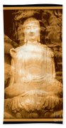 Buddha And Ancient Tree With Border Beach Towel