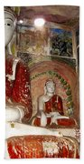 Buddha Image In Po Win Taung Caves. Beach Towel