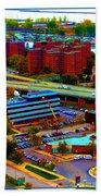 Buffalo New York Aerial View Neon Effect Beach Towel