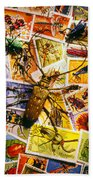 Bugs On Postage Stamps Beach Towel