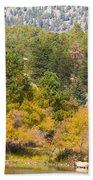 Bull Elk Lake Crusing With Autumn Colors Beach Towel