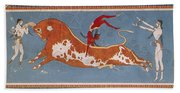 Bull-leaping Fresco From Minoan Culture Beach Towel