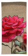 Bumble Bee And Rose Beach Towel