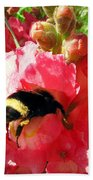 Bumblebee And Snapdragon Beach Towel