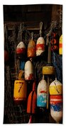 Buoys On Fishing Shack - Greeting Card Beach Towel