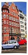 Busy Street Corner In London Beach Towel