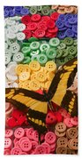 Butterfly And Buttons Beach Towel