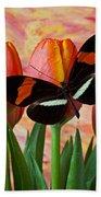 Butterfly On Orange Tulip Beach Towel
