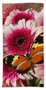 Butterfly On Pink Mum Beach Towel