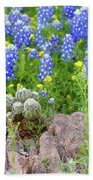 Cactus And Bluebonnets 2am-28694 Beach Towel