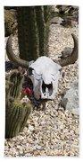 Cactus And Cow Skull Beach Towel