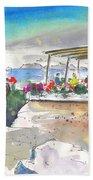 Cafe On Agios Georgios Beach Beach Towel
