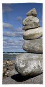 Cairn At North Point On Leelanau Peninsula In Michigan Beach Towel
