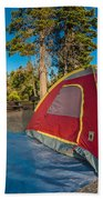 Camping In The Forest Beach Towel