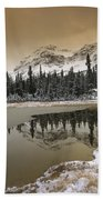Canadian Rocky Mountains Dusted In Snow Beach Towel
